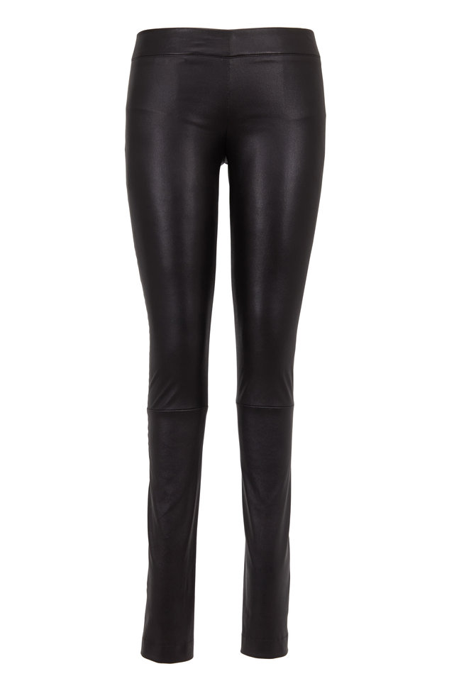 Black Stretch Leather Moto Pants