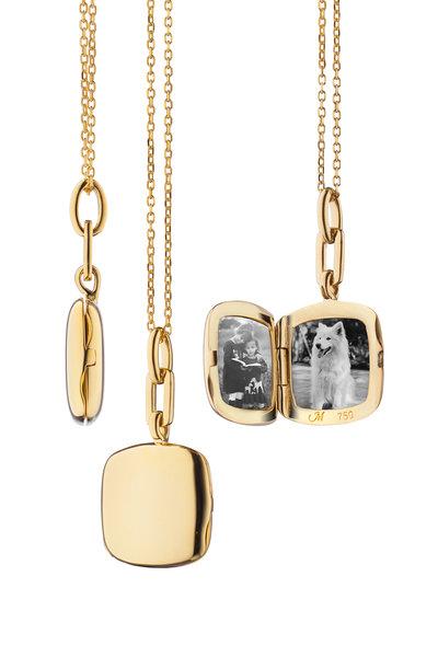 Monica Rich Kosann - Yellow Gold Slim Cushion Locket Necklace