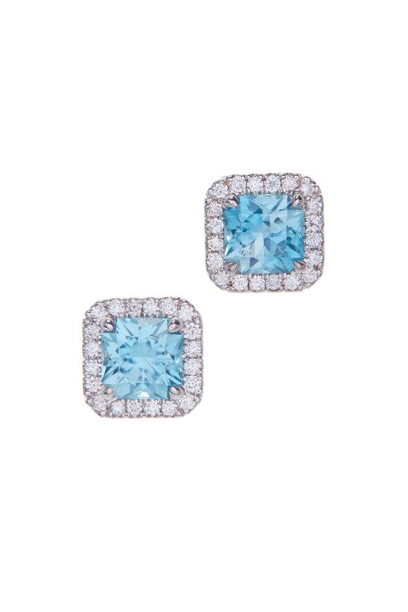 Cairo 18K White Gold Blue Zircon & Diamond Earrings