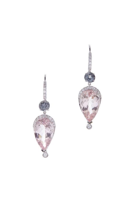 Cairo 18K Gold Morganite, Spinel & Diamond Earrings