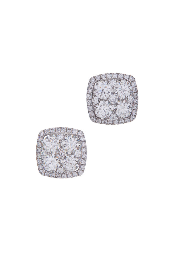 Cairo 18K White Gold Diamond Cluster Earrings