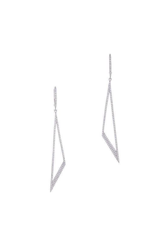 Cairo 14K White Gold Triangular Drop Earrings