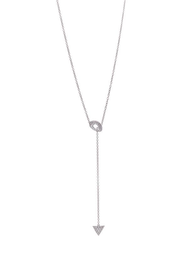 Cairo 14K White Gold Diamond Lariat Necklace