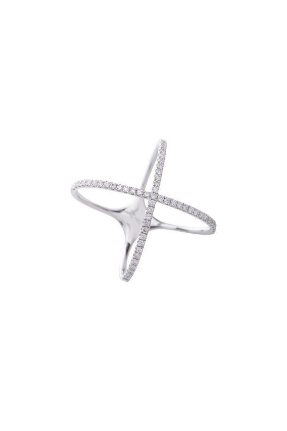 Cairo 18K White Gold Pavé Diamond X Ring
