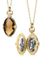 Monica Rich Kosann - Yellow Gold Smokey Quartz Stone Locket