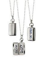 Monica Rich Kosann - Silver Sapphire Striped Locket Necklace