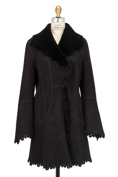 Viktoria Stass - Black Shearling Perforated Scalloped Coat