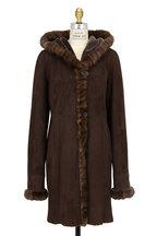 Viktoria Stass - Brown Brisa Shearling & Sable Hooded Coat