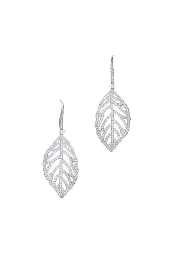 Cairo 18K White Gold Diamond Leaf Earrings