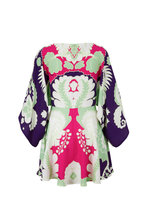 Valentino - Multicolor Silk Arrozo Print Drape Sleeve Dress