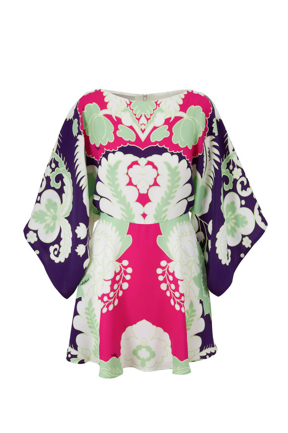 Valentino Multicolor Silk Arrozo Print Drape Sleeve Dress