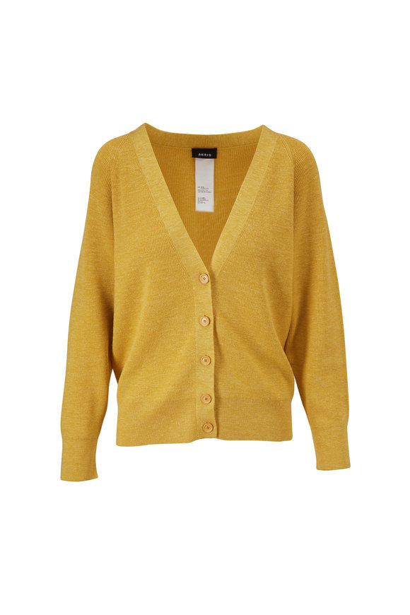 Akris Yellow Silk & Linen Cardigan
