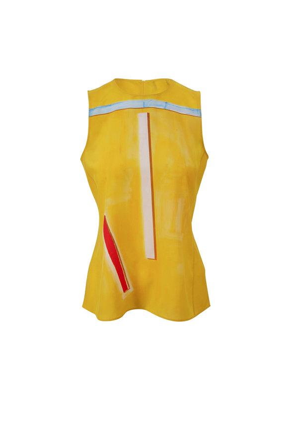 Akris Yellow Print Silk Sleeveless Blouse