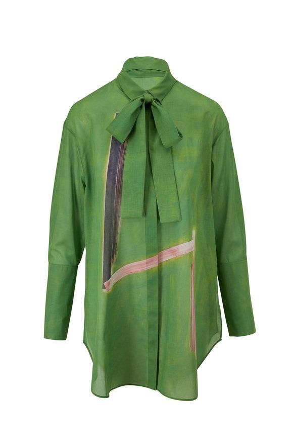 Akris Green Print Cotton Voile Tunic