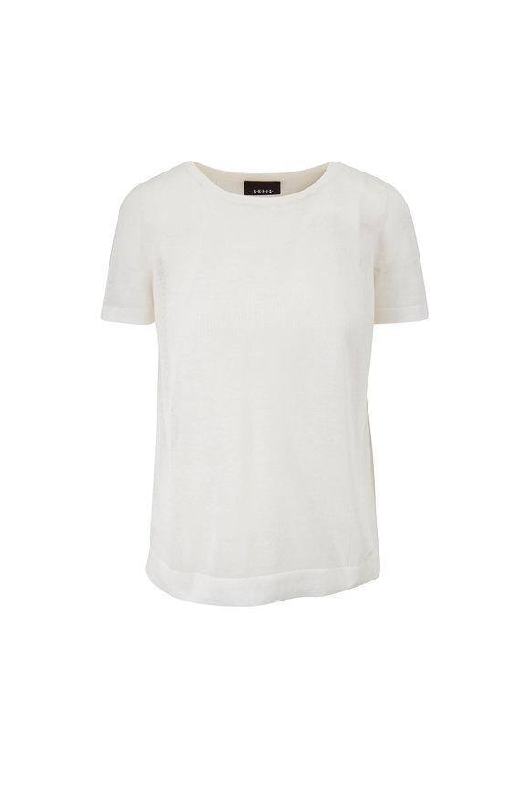 Akris Ecru Silk & Cotton Double Layer T-Shirt
