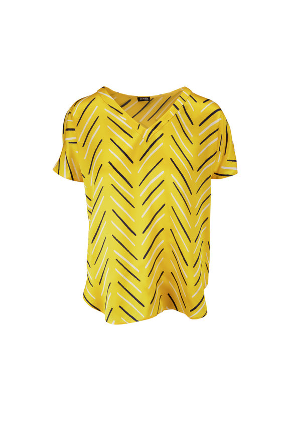 Kiton Yellow Print Silk V-Neck Blouse