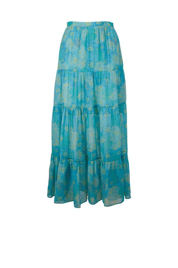 Kiton Turquoise Print Silk Maxi Skirt