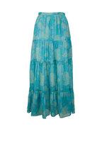 Kiton - Turquoise Print Silk Maxi Skirt