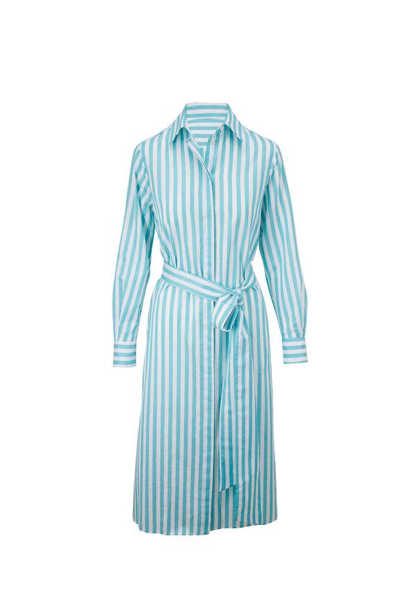 Kiton Turquoise & White Striped Long Sleeve Dress