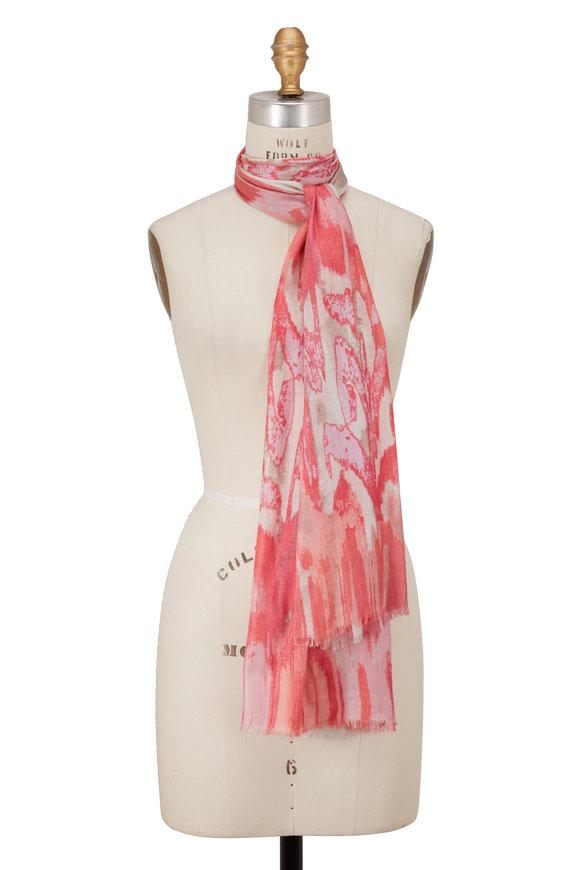 Kinross Bloom Multi Cashmere & Silk Ibiza Ikat Print Scarf
