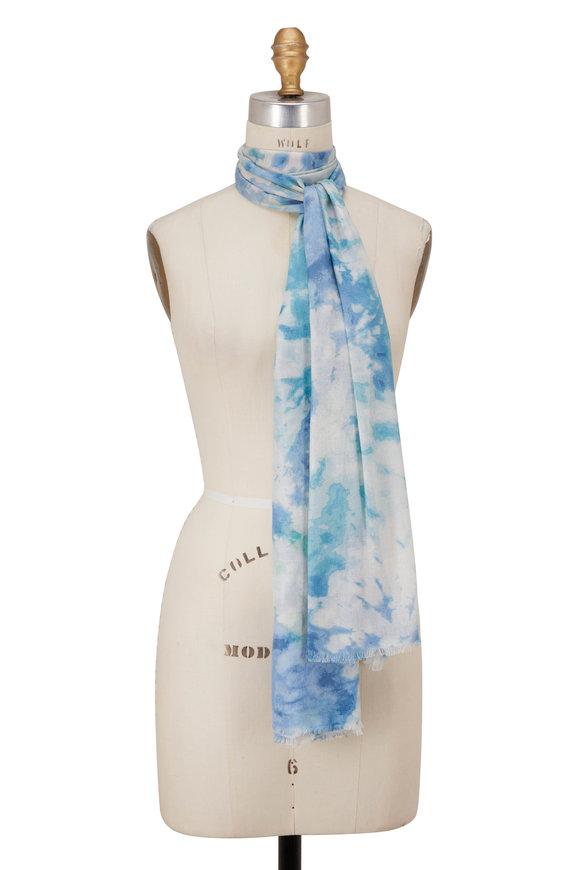 Kinross Surf Cashmere & Silk Splash Print Scarf