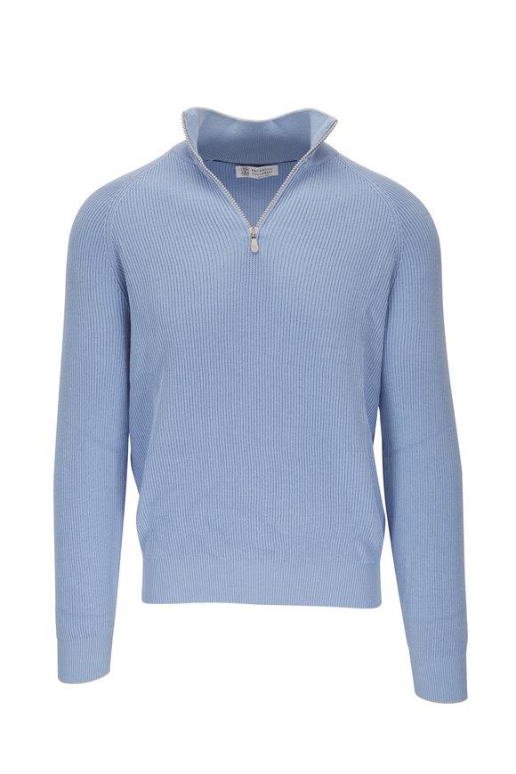 Brunello Cucinelli Light Blue Ribbed Quarter-Zip Pullover