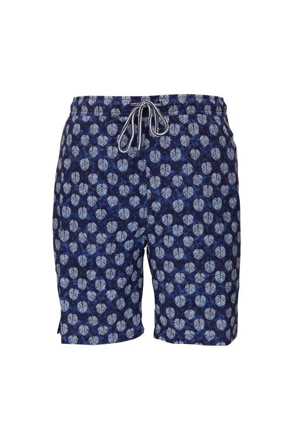 Peter Millar Navy Batik Swim Trunks
