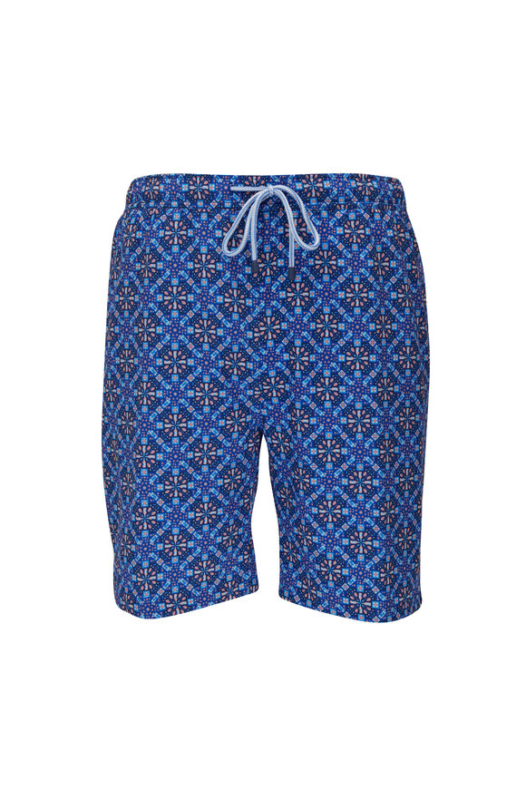 Peter Millar Atlantic Blue Mosaic Swim Trunks