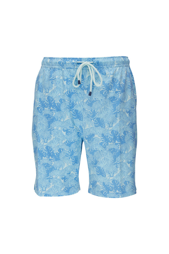 Peter Millar Prowl Turquoise Leaf Pattern Swim Trunks
