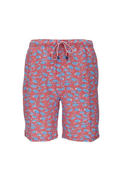 Peter Millar - Hip Hip HooRAY Coral & Coastal Blue Swim Trunks