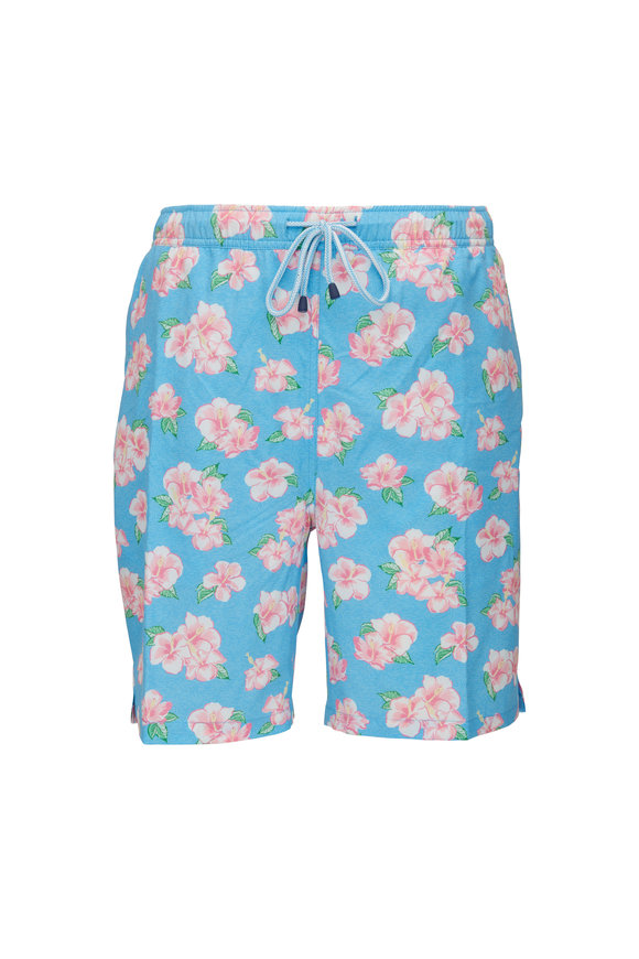 Peter Millar Wave Break Hibiscus Swim Trunks