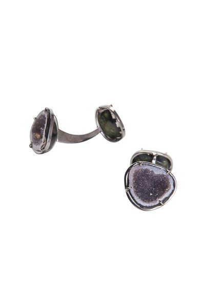 Kimberly McDonald - White Gold Double Purple Geode Cuff Links
