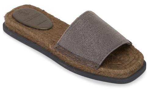 Brunello Cucinelli Taupe Leather & Monili Espadrille Slide