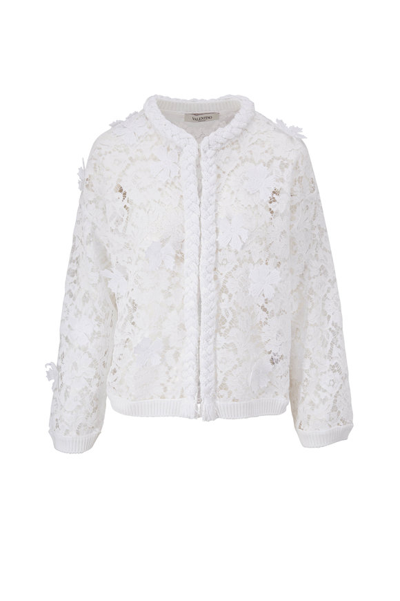 Valentino White Floral Lace Bomber Jacket