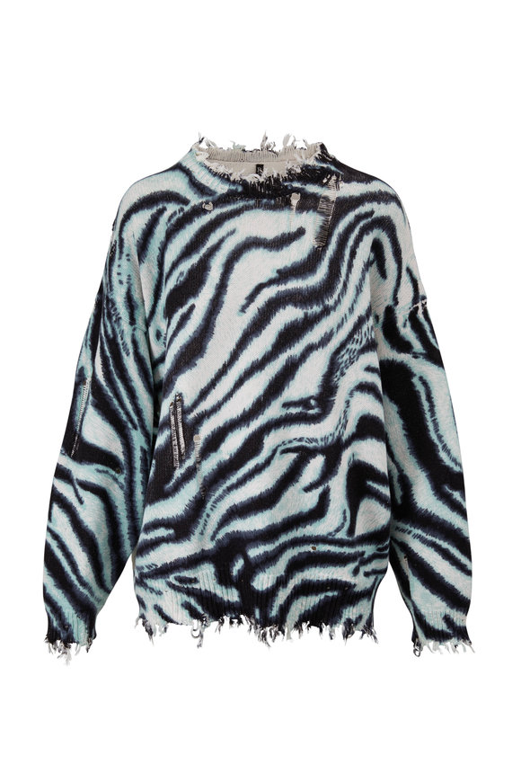 R13 Blue Zebra Distressed Sweater