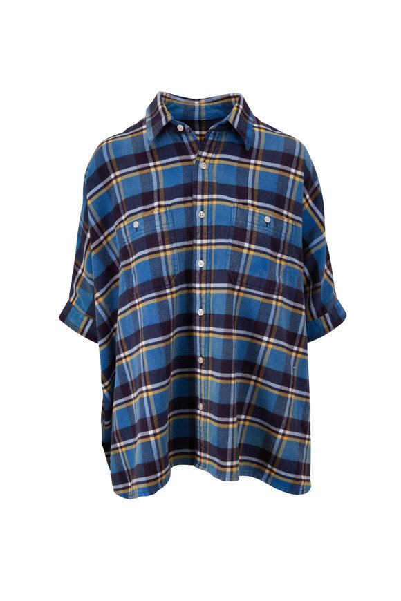 R13 Oversize Blue Plaid Boxy Button Down Shirt