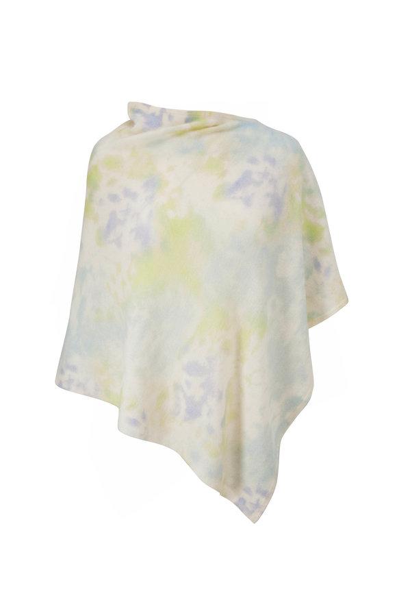 Kinross Surf Multi Cashmere Splash Print Poncho