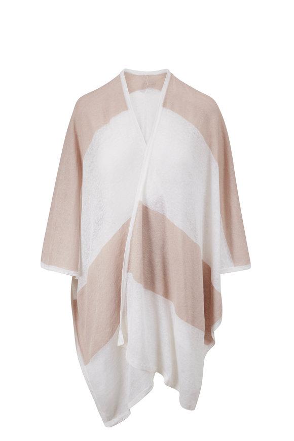 Kinross White & Flax Linen Stripe Poncho