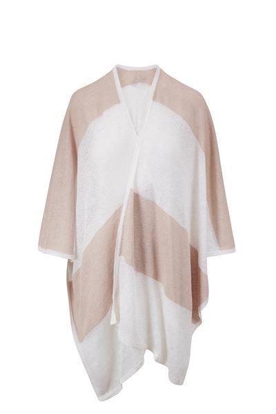 Kinross - White & Flax Linen Stripe Poncho
