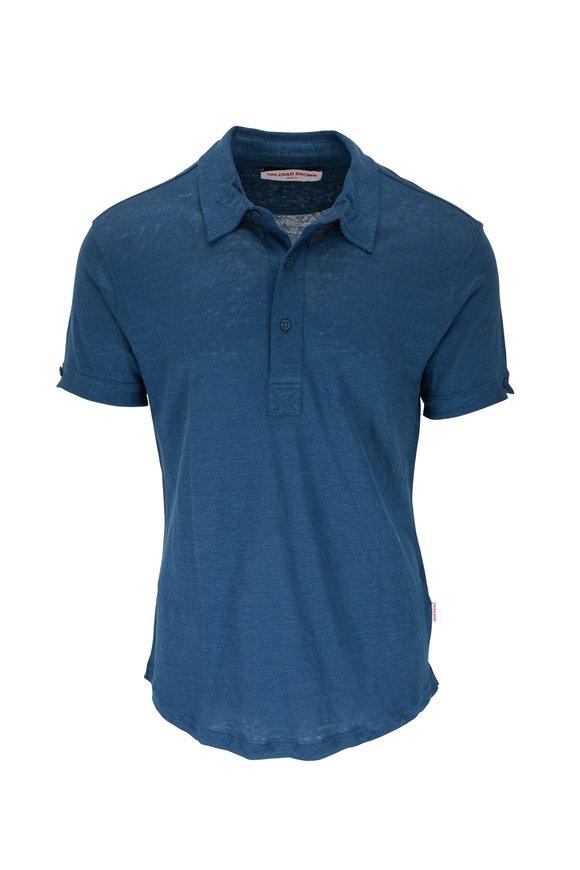 Orlebar Brown Sebastian Blue Slate Linen Tailored Fit Polo