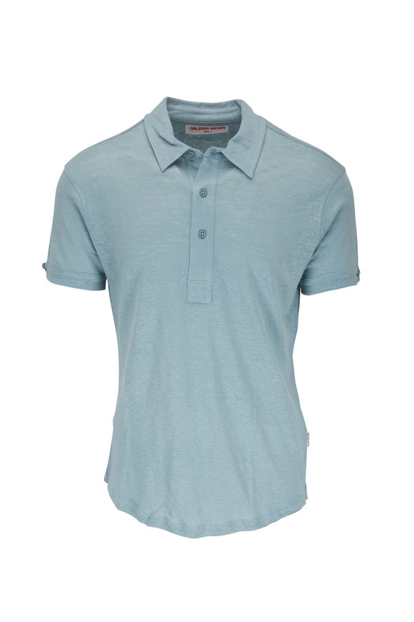 Orlebar Brown Sebastian Mineral Linen Tailored Fit Polo