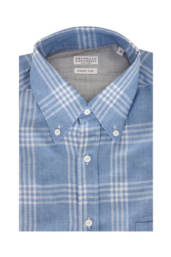 Brunello Cucinelli Blue & White Plaid Leisure Fit Sport Shirt