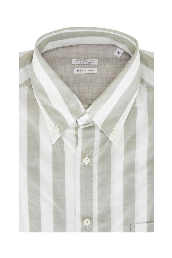 Brunello Cucinelli Sage Green Bold Stripe Basic Fit Sport Shirt