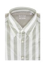 Brunello Cucinelli - Sage Green Bold Stripe Basic Fit Sport Shirt