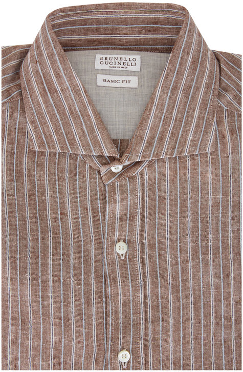 Brunello Cucinelli Brown & White Stripe Basic Fit Sport Shirt