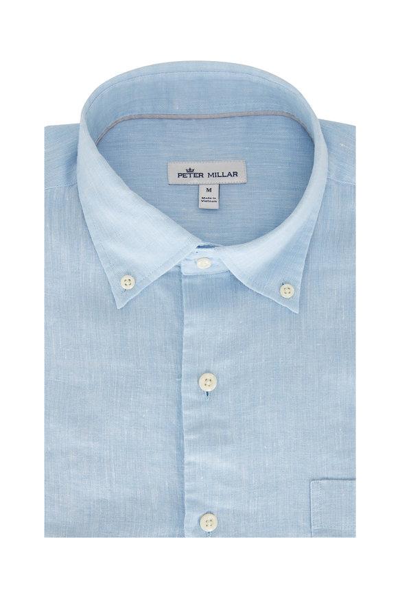 Peter Millar Sardinia Cottage Blue Linen Blend Sport Shirt