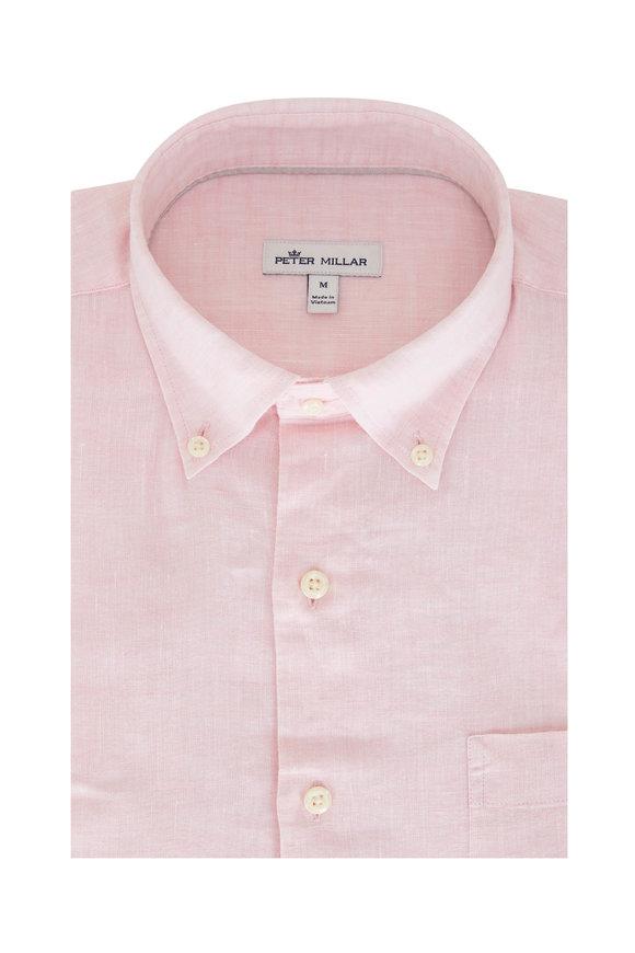 Peter Millar Sardinia Palmer Pink Linen Blend Sport Shirt