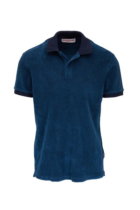 Orlebar Brown Jarrett Toweling Blue Slate Polo