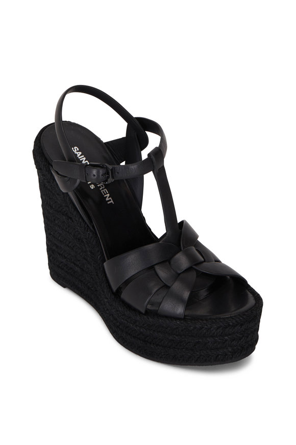 Saint Laurent Tribute Black Leather Espadrille Wedge, 95mm
