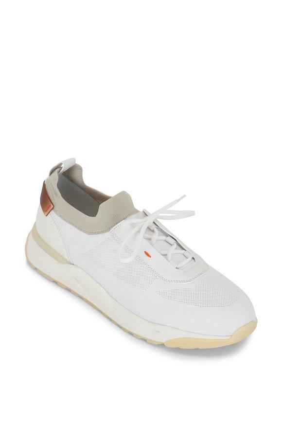 Santoni Bueno White & Gray Knit Sneaker
